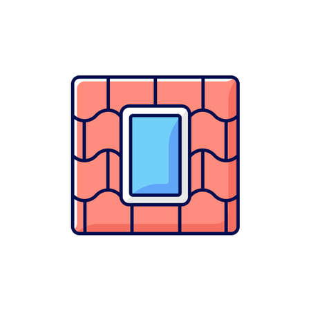 Skylight windows RGB color icon. Outward opening, fixed window set into roofline. Venting skylight. Installing into house ceiling. Light-transmitting structure. Isolated vector illustration