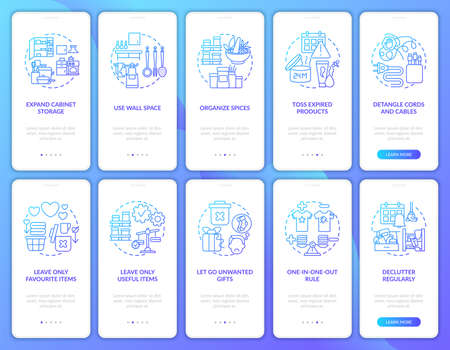 Using wall space onboarding mobile app page screen with concepts set. Letting go unwanted gifts walkthrough 5 steps graphic instructions. UI vector template with RGB color illustrations