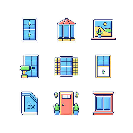 Installation services RGB color icons set. Double-hung windows. Entry doors. Extending beyond exterior wall. Outside view maximizing. Home improvement. Window shutters. Isolated vector illustrations
