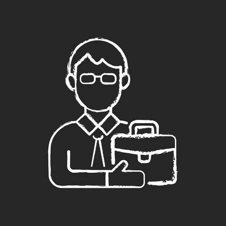Male adult chalk white icon on black background. Middle-aged man. Midlife reevaluation. Fully developed and mature person. Physical, intellectual maturity. Isolated vector chalkboard illustration