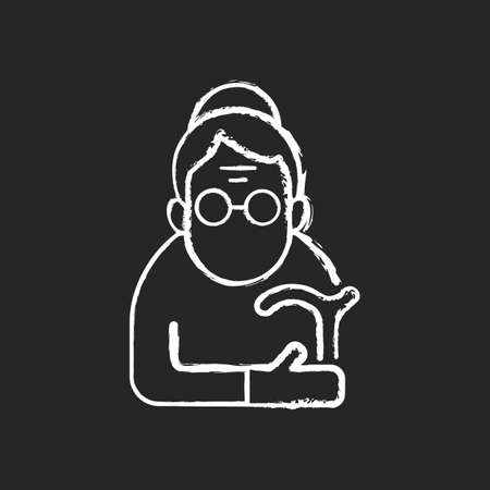 Female pensioner chalk white icon on black background. Senile woman. Old-old age. Aging process. Person aged 90-and-older. Normal life span final stage. Isolated vector chalkboard illustration