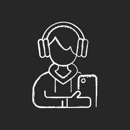 Teenage boy chalk white icon on black background. Male teenager. Adolescence. Emotional development. School stress, peer problems. Mood swings. Growth spurt. Isolated vector chalkboard illustration