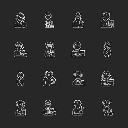 Different age and gender groups chalk white icons set on black background. Aging process. Child development. Adolescent years. Teenager. Senior citizen. Isolated vector chalkboard illustrations