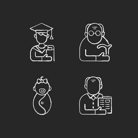 Aging process chalk white icons set on black background. Male student. Pensioner. Early adulthood. Baby phase. Old man. Infancy development. Senior citizen. Isolated vector chalkboard illustrations