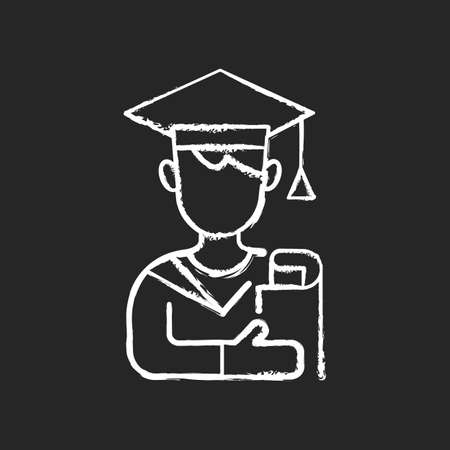Male student chalk white icon on black background. Early adulthood. Establishing identity. Pursuing education. Life stage between adolescence and adulthood. Isolated vector chalkboard illustration