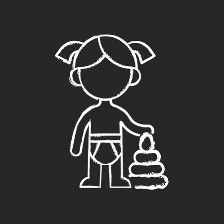 Female toddler chalk white icon on black background. Toddlerhood. Preschool years. Cognitive, emotional and social development. 12 to 36 months old child. Isolated vector chalkboard illustration
