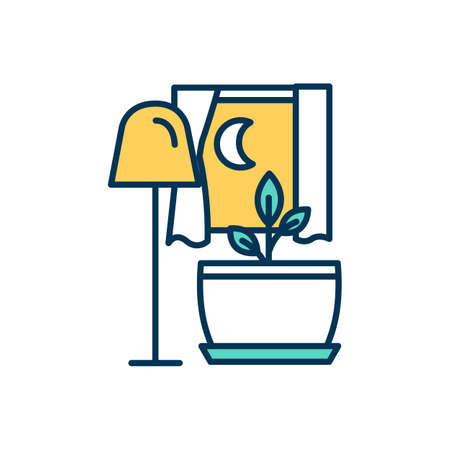 Artificial lighting for plants RGB color icon. Houseplant light intake. Indoor plant and foliage growth enhancement at night. Fluorescent, incandescent and LED lights. Isolated vector illustration
