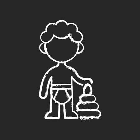 Male toddler chalk white icon on black background. 1-2 years old. Child development. Preschooler. Early childhood. Physical growth. Learning through play. Isolated vector chalkboard illustration