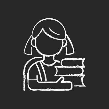 Schoolgirl chalk white icon on black background. Physical, cognitive child growth. Mental development. Elementary education. Relationship skills improvement. Isolated vector chalkboard illustration Illusztráció