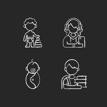 Aging process chalk white icons set on black background. Preschooler. Female teenager. Male newborn. Schoolboy. 1-2 years old boy. Adolescent years. Isolated vector chalkboard illustrations