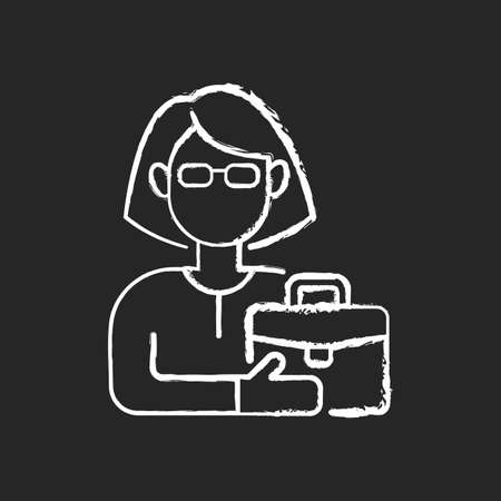 Female adult chalk white icon on black background. Middle-aged woman. 35-40 years old. Adulthood period. Mentally and sexually mature. Matured person. Isolated vector chalkboard illustration