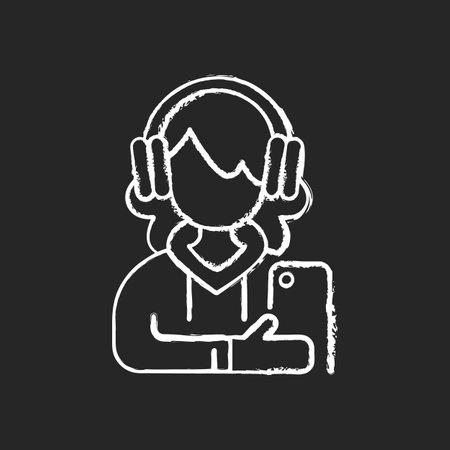 Teenage girl chalk white icon on black background. Female teenager. 13-19 years old girl. Teen behavior. Adolescent years. Individuality development. Isolated vector chalkboard illustration