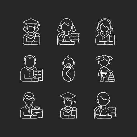 Age and gender differences chalk white icons set on black background. Female and male student. Schoolgirl and schoolboy. Senior citizen. Preschooler. Isolated vector chalkboard illustrations