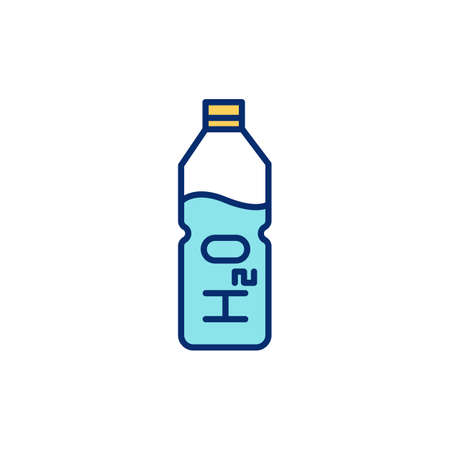 Drinking enough water RGB color icon. Own water bottle. Increasing energy levels and brain function. Maintaining body fluids balance. Physical performance maximization. Isolated vector illustration