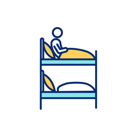 Bunk bed in dormitory RGB color icon. Low-cost shared sociable lodging. Hostel room. Inexpensive lodging facility for travelers. Dormitory-style sleeping arrangements. Isolated vector illustration