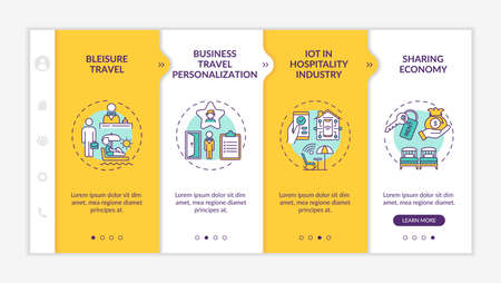 Business travel trends onboarding vector template. Bleisure travel. Business travel personalization. Responsive mobile website with icons. Webpage walkthrough step screens. RGB color concept Vektorové ilustrace