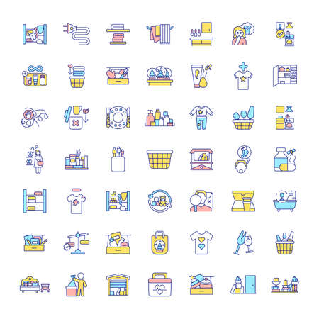 Decluttering and tidying in house RGB color icons set. Cleaning rooms. Organization things in wardrobes and cabinets. Spring-cleaning and freeing up storage space. Isolated vector illustrations