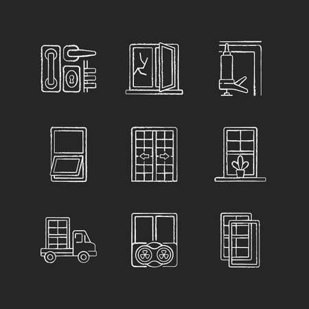Window and door installations chalk white icons set on black background. Locks and levers. Fixing cracked sills and glass. Insulating barrier creation. Isolated vector chalkboard illustrations