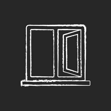 Casement windows chalk white icon on black background. Movable window. Preventing unwanted airflow into house. Ventilation control in kitchen, bathroom. Isolated vector chalkboard illustration