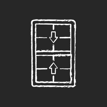 Double-hung windows chalk white icon on black background. Two operating sash moving up, down. Vertical-sliding window. Efficient ventilation on top, bottom. Isolated vector chalkboard illustration