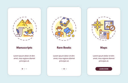 Archive collections onboarding mobile app page screen with concepts. Ancient books and maps walkthrough 3 steps graphic instructions. UI vector template with RGB color illustrations