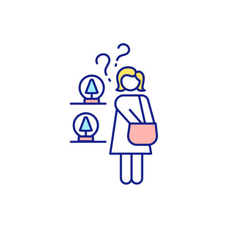Type of people cluttering up house RGB color icon. Not remembering early purchases. Warehousing and littering at home. Waste money on unnecessary things. Isolated vector illustration
