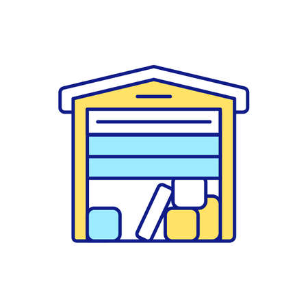 Additional storage space RGB color icon. Decluttering and throwing away unnecessary and expired products. Regular cleaning-out of house. Boxes and shelves. Isolated vector illustration Vektorgrafik