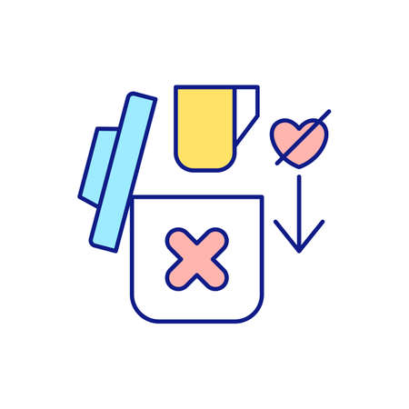 Leaving favorite items RGB color icon. Cleaning space in house. Decluttering and tidying. Throw away unnecessary and unused things. Cleaning services. Isolated vector illustration