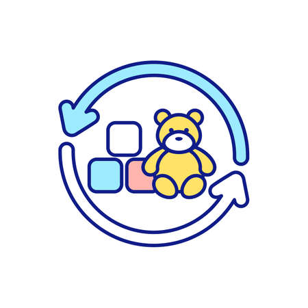 Donation and helping to children RGB color icon. Decluttering house from unused or unnecessary things. Charities. Toys donations. Tidying and cleaning up. Isolated vector illustration