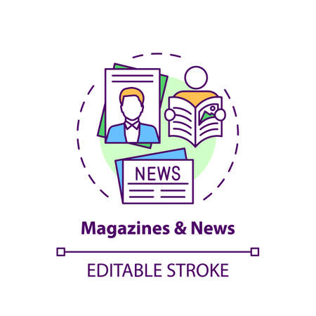 Magazines and news concept icon. Online library catalog idea thin line illustration. Available online press. Reading paper editions. Vector isolated outline RGB color drawing. Editable stroke