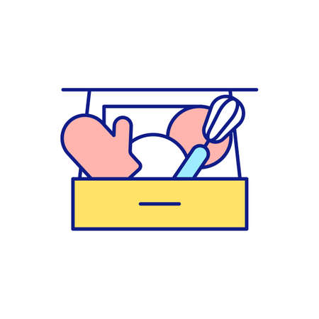 Cleaning kitchen RGB color icon. Unfolding devices and products in place. Throwing away unused things. Decluttering, tidying and cleaning. Spring-cleaning. Isolated vector illustration