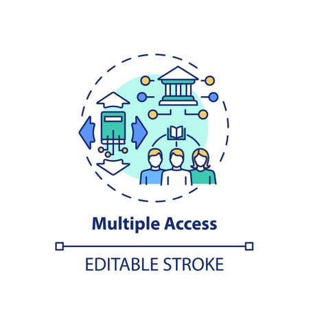 Multiple access concept icon. Online library benefits idea thin line illustration. Free information access. Broad research oportunity. Vector isolated outline RGB color drawing. Editable stroke