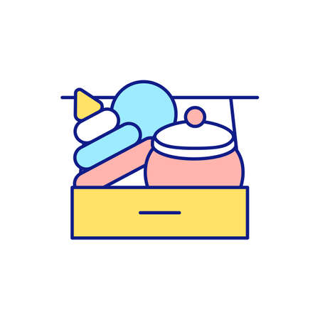 Donation toys to orphanage RGB color icon. Cleaning home from unnecessary and unused items. Charities and hospital. Helping to children. Tidying and decluttering. Isolated vector illustration
