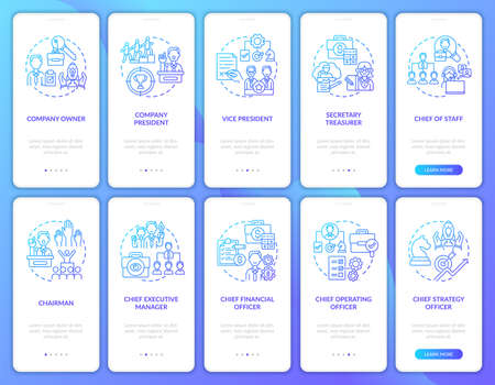 Top management onboarding mobile app page screen with concepts set. Controlling organization. Company ceo walkthrough 10 steps graphic instructions. UI vector template with RGB color illustrations