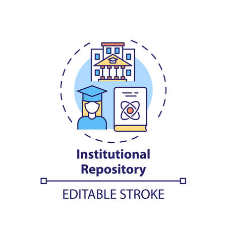 Institutional repository concept icon. Online library search options idea thin line illustration. Constant access to scientific materials. Vector isolated outline RGB color drawing. Editable stroke