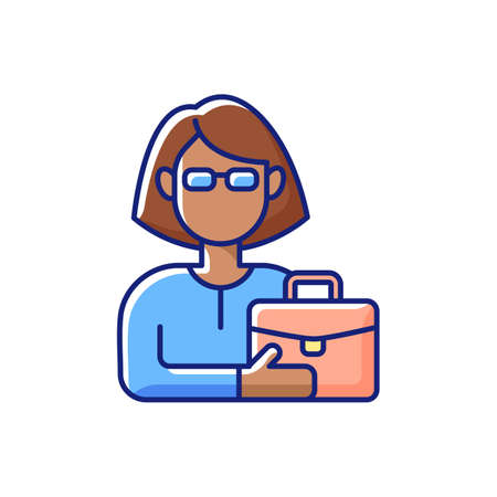Female adult RGB color icon. Middle-aged woman. 35-40 years old. Adulthood period. Mentally and sexually mature. Fully developed, grown-up person. Social construct. Isolated vector illustration