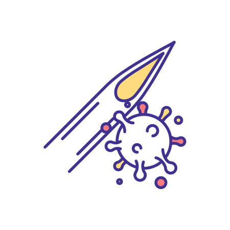 Needlestick injury RGB color icon. Risk for dangerous infections transmission. Skin puncture. Bloodborne pathogens. Sharps injury. Transmitting life-threatening illness. Isolated vector illustration