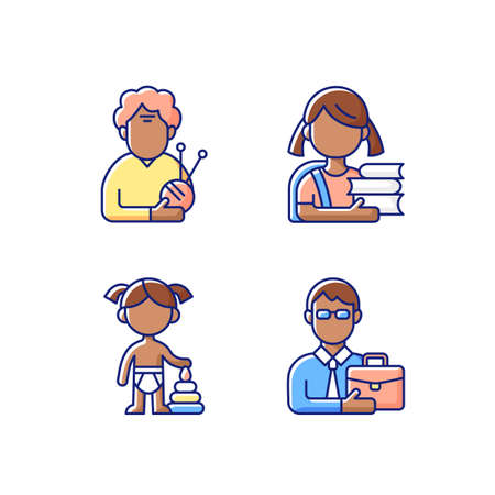Aging process RGB color icons set. Elderly woman. Schoolgirl. Female toddler. Middle-aged man. Old pensioner. Elementary education. Toddlerhood. Preschool years. Midlife. Isolated vector illustrations