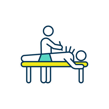 Acupuncture treatment RGB color icon. Muscle discomfort relieving. Inserting steel needles into skin. Alternative therapy. Chronic back pain treating. Controlling nausea. Isolated vector illustration