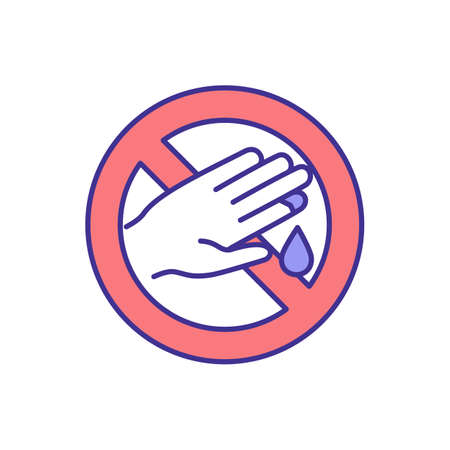 Hand injury prevention at work RGB color icon. Cuts and puncture avoiding. Traumas at construction industry. Hazards awareness. Hygiene, first aid. Unsafe work preventing. Isolated vector illustration