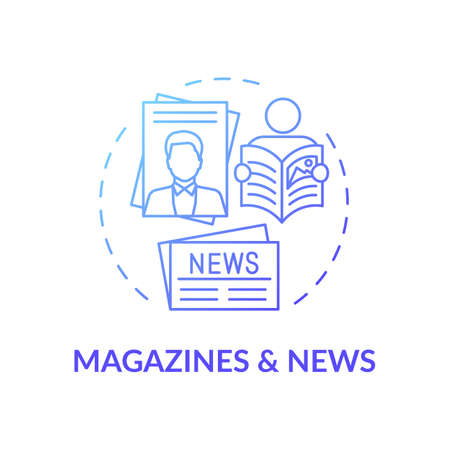 Magazines and news concept icon. Online library catalog idea thin line illustration. New technology. Available online press. Reading paper editions. Vector isolated outline RGB color drawing