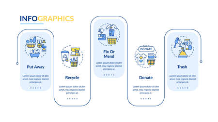Ways to declutter things vector infographic template. Donate and recycle presentation design elements. Data visualization with 5 steps. Process timeline chart. Workflow layout with linear icons Vettoriali