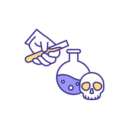 Working with chemical substances RGB color icon. Handling hazardous material. Chemical safety. Practice in laboratory. Safety precautions. Fumes spreading prevention. Isolated vector illustration