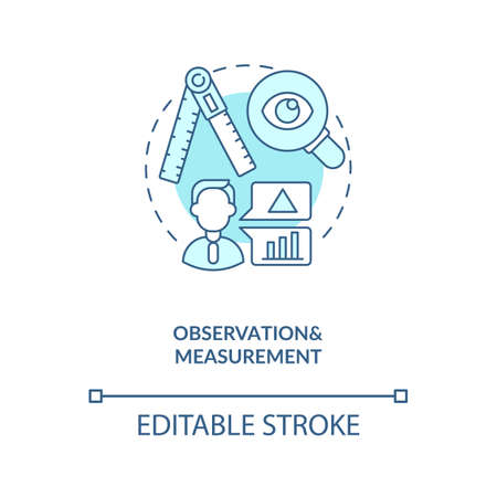 Observations and measurements concept icon. Schema encoding for observations idea thin line illustration. Quality of control. Vector isolated outline RGB color drawing. Editable stroke