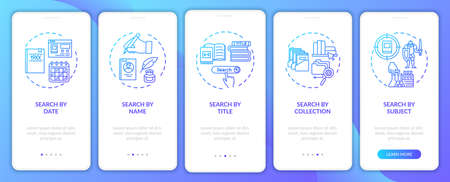 Online library search options onboarding mobile app page screen with concepts. Different types of searching walkthrough 5 steps graphic instructions. UI vector template with RGB color illustrations