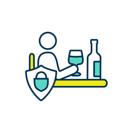Alcoholic beverages refusal RGB color icon. Handling with alcohol dependence. Substance abuse, bad habits treatment. Alcoholism and binge drinking therapeutic cure. Isolated vector illustration