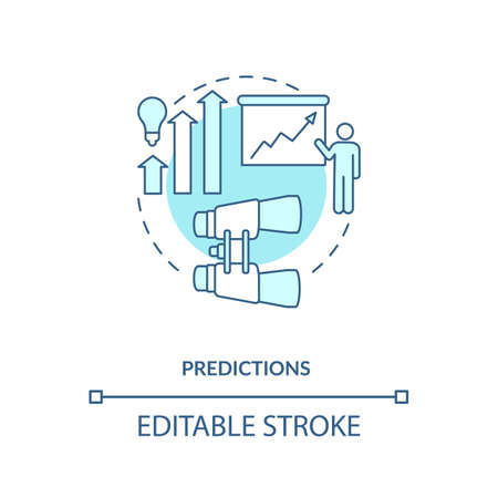 Predictions concept icon. Process of forecasting idea thin line illustration. Event happening in future. Prediction studies. Vector isolated outline RGB color drawing. Editable stroke