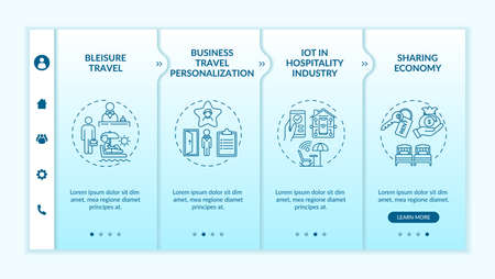 Business travel trends onboarding vector template. Business travel personalization. IoT hospitality industry. Responsive mobile website with icons. Webpage walkthrough step screens. RGB color concept