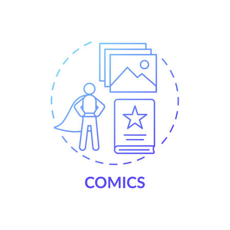 Comics concept icon. Online library catalog idea thin line illustration. Entertaining literature is always at hand. Web access. New technology. Vector isolated outline RGB color drawing