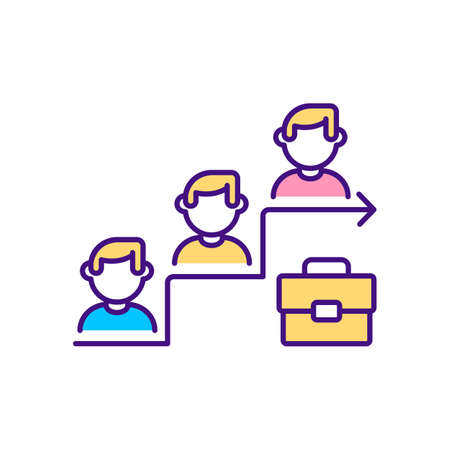 Job promotion RGB color icon. Getting better skills. Organization workers oppertunity path. Getting new position while working on project. Salary uprising. Isolated vector illustration